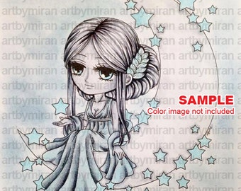 Digital Stamp-Lunar Deity(#59), Digi Stamp, Coloring page, Printable Line art for Card and Craft Supply