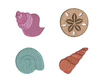 Mini Seashell Machine Embroidery Design Set-INSTANT DOWNLOAD
