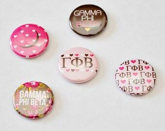 """Gamma Phi Beta 1"""" Buttons"""