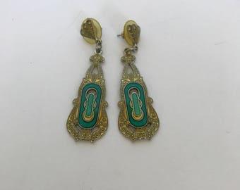 Vintage earrings in art deco style deco enamel earrings green earrings