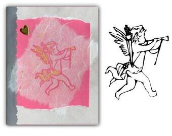 Cupid UNMOUNTED rubber stamp, Valentine, love, cherub, little angel, Sweet Grass Stamps  No.3