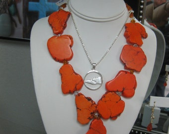 Orange Howlite Slab Necklace w/Crystals