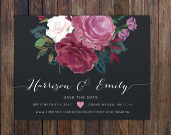 Printable Save the date Magnet, Floral Save the Date Magnet, Save the Date Magnet with flowers, Boho Save The Date