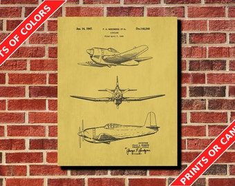 Airplane Decor, Vintage Airplane Patent Print, Flying Poster, Aircraft Blueprint, Pilot Gift, Aviation Poster, Home Decor