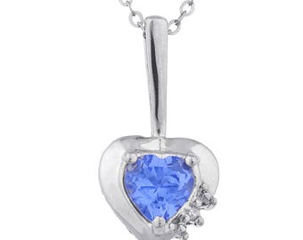 Tanzanite & Diamond Heart Pendant .925 Sterling Silver