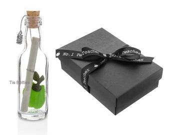 Thank You Teacher Gift - Personalised Message in a Bottle Gift   Apple