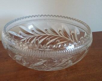Vintage Retro Pressed Glass Fruit Bowl