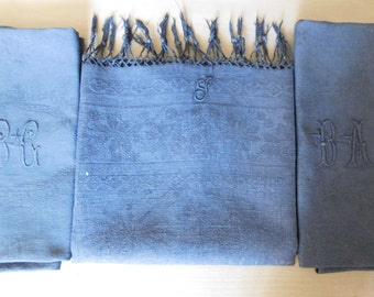 French linen monogrammed towel  S monogram  Navy blue antique towel Antique fringed towel