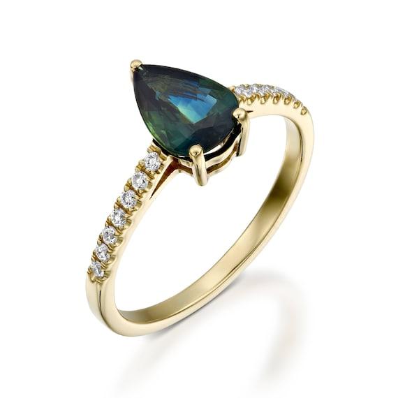 Green Sapphire Diamond Engagement Ring Yellow Gold