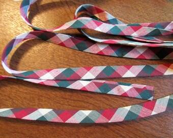 "Handmade Bias Seam Binding 5/8"" - Cotton - Double Fold - Vintage - Burgundy & Green Check - 1 Yd."