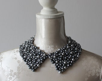Beaded collar necklace with grey graphite pearls beads pointed shape detachable removeable accessories for women peter pan collar elegant