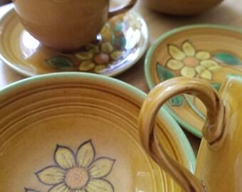 1970s Golden Dahlia Coffee Tea set for two Metlox tea coffee set 2 each-saucers cups bowls California Made Poppytrail FREE Tea Infuser Spoon