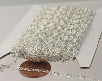 Sterling Silver Plated Chain Bulk Chain, 32 feet Spool of SOLDERED Sturdy figaro chain 2x4.5mm - Necklace Wholesale Chain DIY Bulk Chain