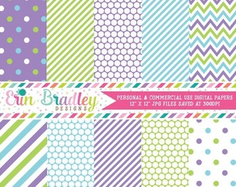 80% OFF SALE Purple Green and Blue Polka Dots Stripes & Chevron Commercial Use Digital Paper Pack Instant Download