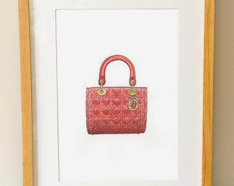 LADY DIOR - Handbag - Watercolor print - Dior - Fashion Wall Art - Gifts For Her - Haute Couture - Dressing Room Art - Red Handbag - Print