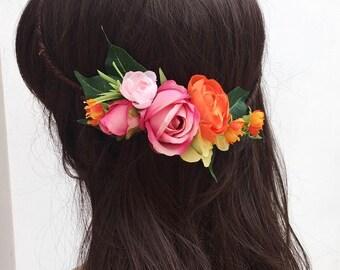 Bright Spring Orange, Pink, Yellow Flower Crown - halo - bridal - wedding - foliage -bride - flower girl - vintage - festival