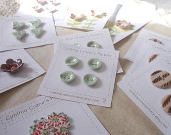 Mint Green Buttons with Pearl Luster Glaze, Set of 4 Small Round in Ceramic Porcelain Clay