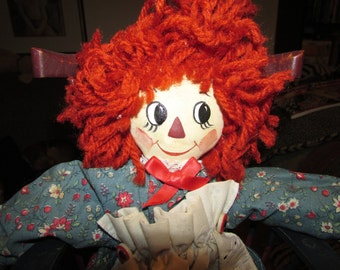 "Adorable  Hand Made Artist  RAGGEDY Ann Cloth DOLL 15"" Tall"