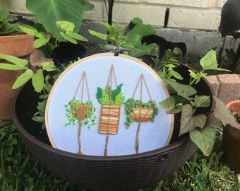 Hanging Baskets - Embroidery Design - 6 inch