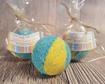 Blueberry Lemon Verbena Small Bath Bomb, Lemon Bath Bomb, Blueberry Bath Bomb, Goat Milk Bath