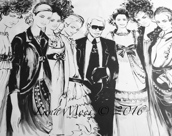 Karl and Chanel Girls Print on Canvas  -  Lana Moes Fashion Illustration - Modern art  for your stylish home wall decor  - Chanel Style