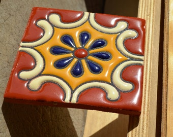 "6   Mexican Talavera Tiles handmade- Hand painted 4 ""X 4"" or 6x6"""