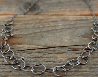 sterling silver chain necklace, metalsmith handmade chain necklace