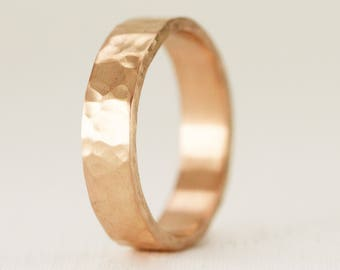 Men's 14k Gold Wedding Ring - Solid Yellow White or Rose Gold - 5 x 1.5mm Flat Band - Smooth or Hammered