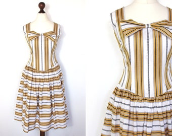 60s Bow Detail Sun Dress / A Line Dress / Striped / Stripy / 1960s / True Vintage Mid Length Dress