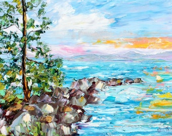 Lake Tahoe Sunset painting original oil on canvas palette knife 12x16 impressionism fine art by Karen Tarlton