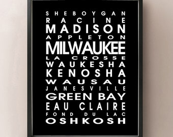 Wisconsin Bus Roll - WI State Poster