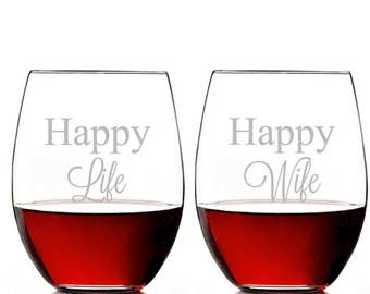 Happy Wife Happy Life 15 OZ Stemless Wine Glass - ST15OZ-ALX6K