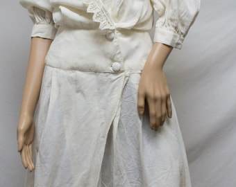 Cotton dress,8, lace, peasant dress, Boho dress,Size 8,off white