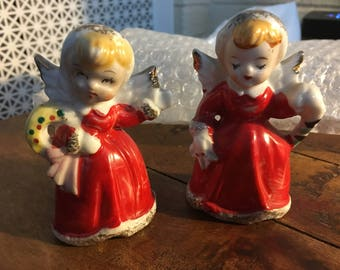 Pair of Red Ceramic Christmas Angels