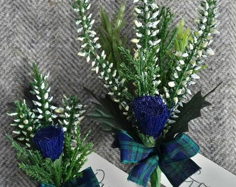 Adult & Child scottish heather and thistle buttonholes (set of 2)