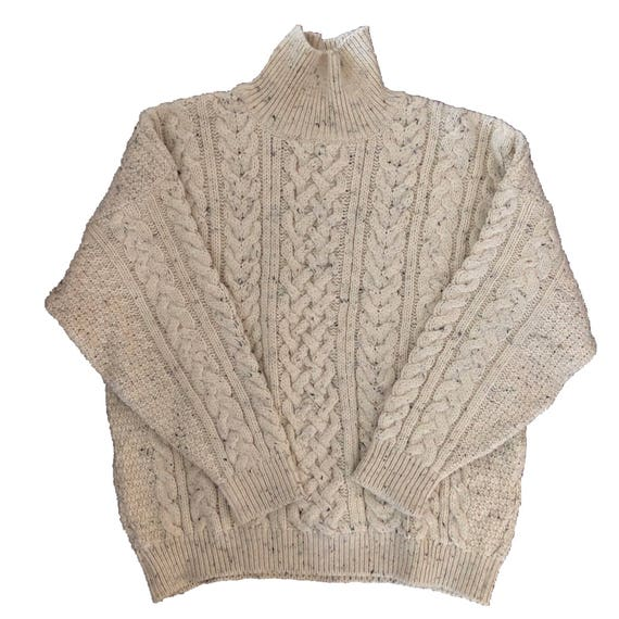 Vtg British Wool Cable Knit Sweater Oversized Cream Mens