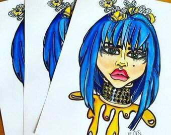 Honey A5 A4 A3 digital prints Secret Garden bumble bee Mythicalponez girl pop surrealism fairytale fantasy art alternative blue hair