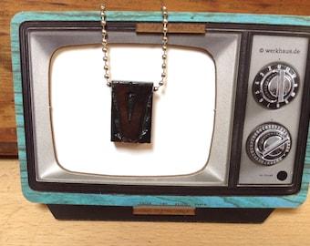 Vintage Wooden Letterpress V Necklace, Necklace Typography Necklace, Letter Press Pendant