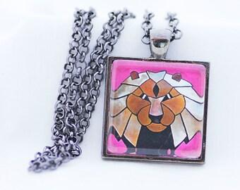 Aztec Lion Print Necklace, Gunmetal Black, Fine Art Print, Photo Jewelry, Big Cat Necklace