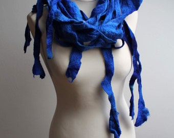 Royal Blue Fringe Scarf Lariat Sky Blue Cobalt Ultramarine Navy Felt Hand Dyed Winter Accessory Extra Long nautical style
