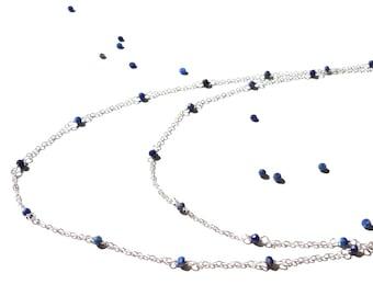 Minimal, Lapis Lazuli, Sterling Silver Necklace, Long Necklace, Multi Strand Necklace, Blue Gemstone, Lapis Lazuli Necklace, Minimal Jewelry