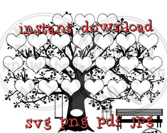 23 Hearts Family Tree Download. SVG JPG pdf PNG Template. Print at home. Digital. Instant Download Clip Art. Commercial Use. Ancestory chart