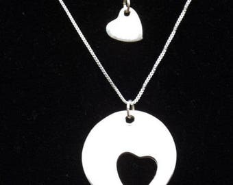Auntie and Niece heart necklace set, Aunt and niece hearts, Auntie and Me heart necklaces, New Aunt necklace, Gift for niece