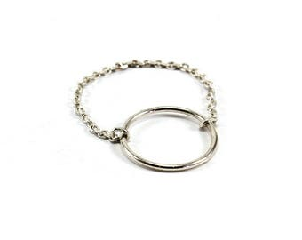Silver chain ring with big ring