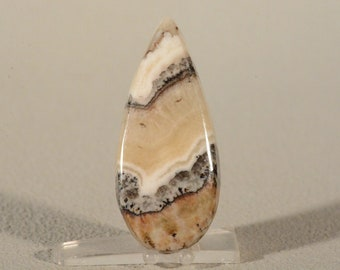 Calico Silver Lace Onyx Cabochon. Handcrafted USA. Natural Gemstone.