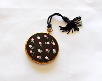 Vintage 1940's Goldtone and Black Floral Compact with Tiny Hand Painted Pink and Light Lavender Flowers, Green Leaves and Black Tassel