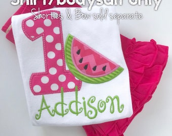 Baby Girl Birthday Watermelon bodysuit or shirt-- Summertime Sweet -- hot pink, pink & lime watermelon theme