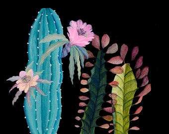 Night pink flower garden - illustration - giclee  print