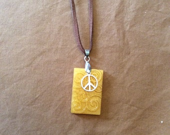 Resin Necklace with Peace Charm