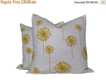 15% Off Sale Pillow Yellow and White Covers Set of TWO 18x18 Dandelion on White Print on front and Back